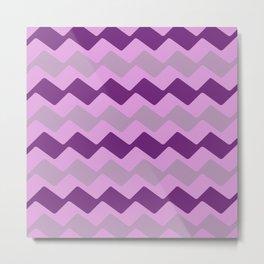 Purple Zig Zag Pattern Metal Print