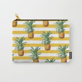 Pineapples Yellow Stripes Chic Beach Carry-All Pouch