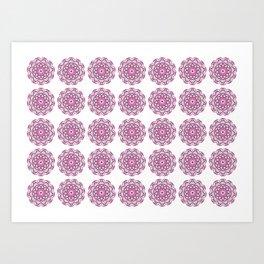 Summer in India, grey and bright pink geometric mandala flowers Art Print