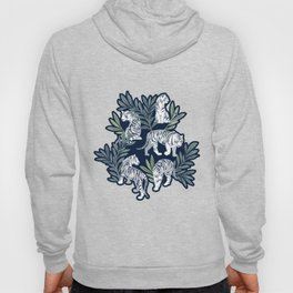 Nouveau white tigers // navy blue background green leaves silver lines white animals Hoody