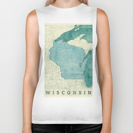 Wisconsin State Map Blue Vintage Biker Tank