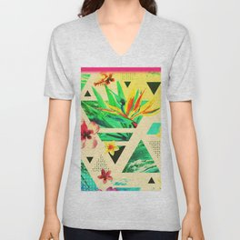 Tropical Sensation Abstract Print Unisex V-Neck
