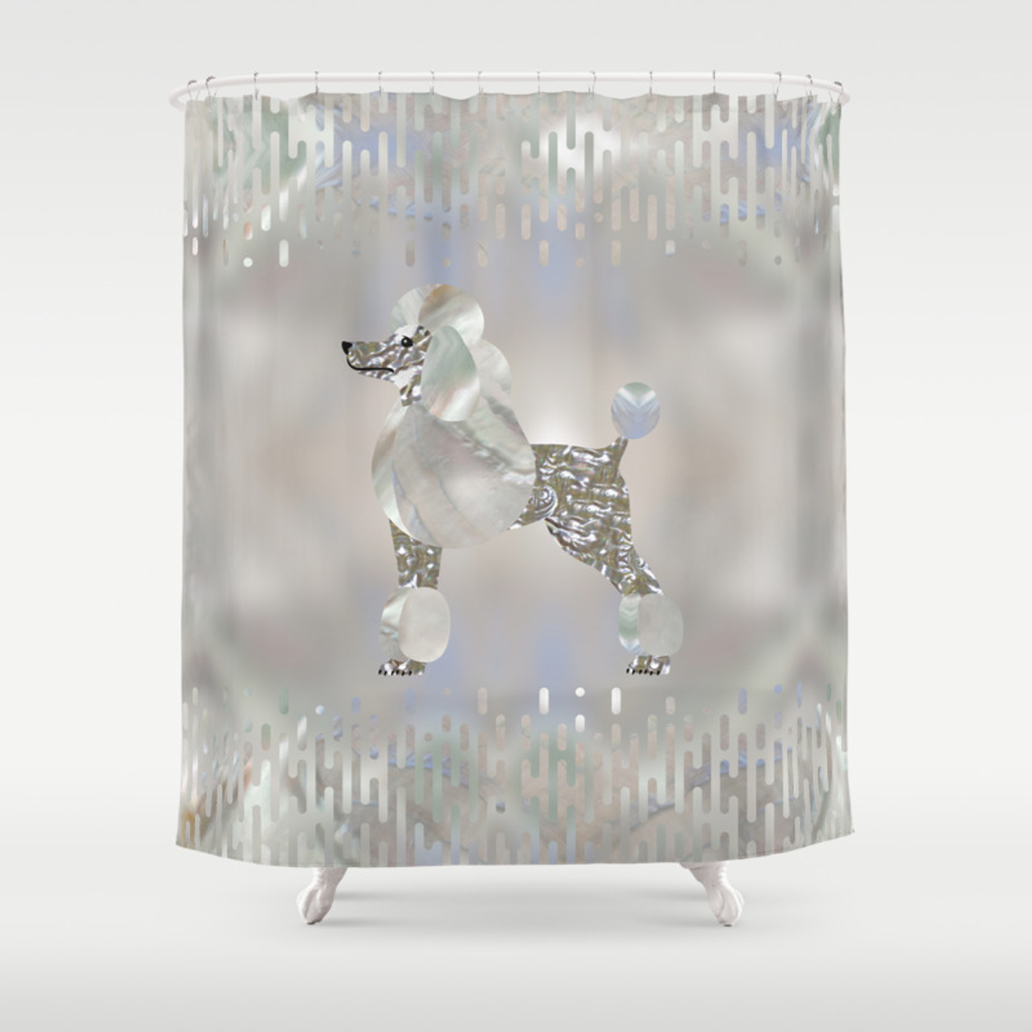 Luxury Pearl And Abalone Poodle Shower Curtain