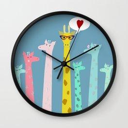Giraffes party Wall Clock