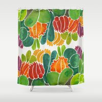 succulents Shower Curtains featuring Succulents by Cat Coquillette