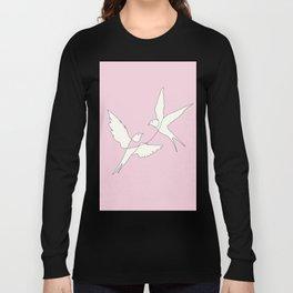 Two Swallows Line Art Long Sleeve T-shirt