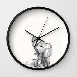tiny elephant sitting in the corner Wall Clock