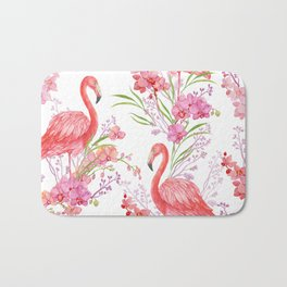 flamingos and orchids watercolor seamless pattern. Bath Mat