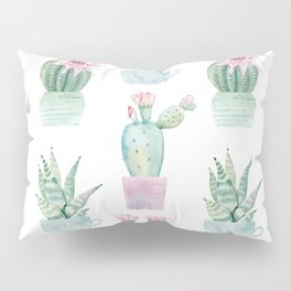 Simply Echeveria Cactus in Pastel Cactus Green and Pink Pillow Sham