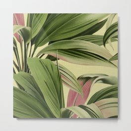 Cordyline Princess Margaret Watercolor Cream Pattern Metal Print