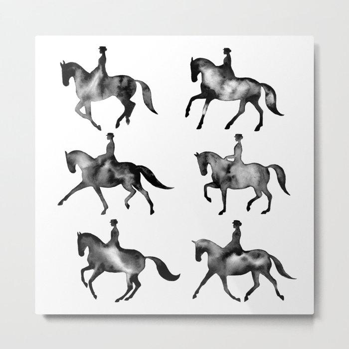 Dressage Horse Silhouettes Metal Print