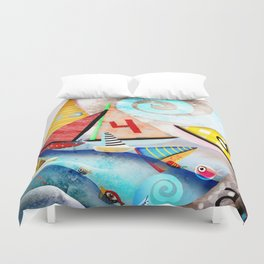 Wooden sail boat Love - Wild ocean waves Duvet Cover