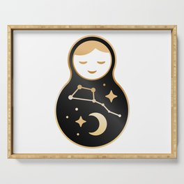 Russian doll matrioshka Babushka smiling Kawaii cute face, Stars, moon, constellation Ursa Major Serving Tray