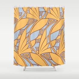 Modern art nouveau tessellations gamboge azure Shower Curtain