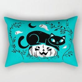 Spooky Cat - Mid Century Vintage Mint Rectangular Pillow