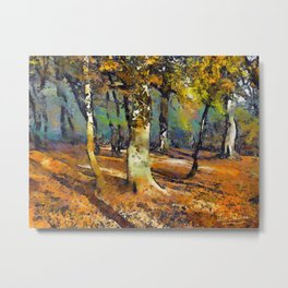 Drama in the Forest and light spills around the trees. Metal Print