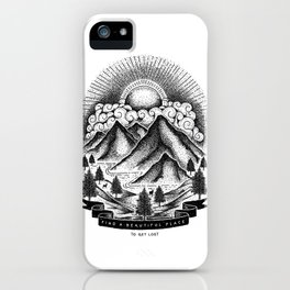 FIND A BEAUTIFUL PLACE TO GET LOST (White) iPhone Case