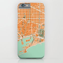 Barcelona city map orange iPhone Case