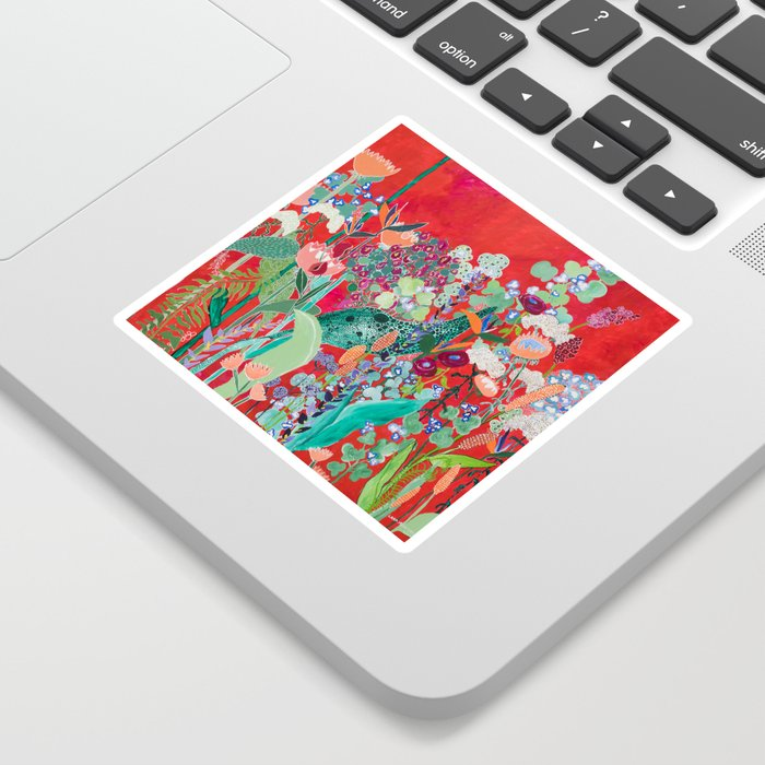 Red floral Jungle Garden Botanical featuring Proteas, Reeds, Eucalyptus, Ferns and Birds of Paradise Sticker