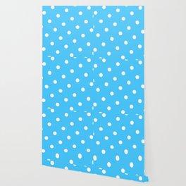 Pastel Goth Pastel Blue Retro Polka Dot (White) Wallpaper