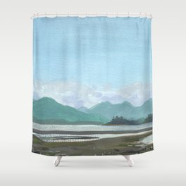 SITKA SOUND 03, Sitka Travel Sketch by Frank-Joseph Shower Curtain