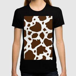 cow spots animal print dark chocolate brown white T-shirt