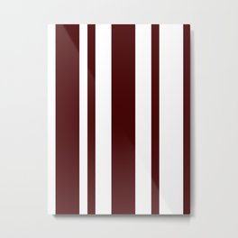 Mixed Vertical Stripes - White and Bulgarian Rose Red Metal Print