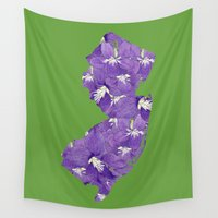 new jersey Wall Tapestries featuring New Jersey in Flowers by Ursula Rodgers
