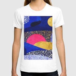 Terrazzo galaxy blue night yellow gold pink T-shirt