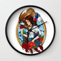 bioshock Wall Clocks featuring BioShock Infinite by Little Lost Forest