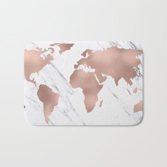 Marble World Map Rose Gold Pink Bath Mat