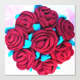 Crocheted Roses Canvas Print