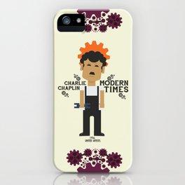 Charlie Chaplin, Modern Times, minimal movie poster iPhone Case