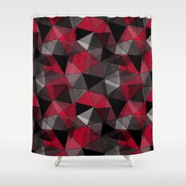 Abstract polygonal pattern.Red, black, grey triangles. Shower Curtain