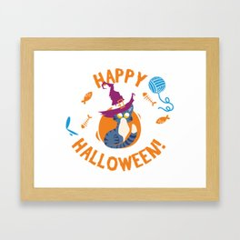 Happy Halloween Funny Witch Kitty Framed Art Print