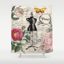 french country rose floral modern vintage dress mannequin paris fashion Shower Curtain