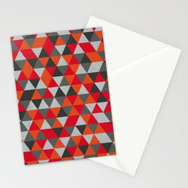 Hot Red and Grey / Gray -  Geometric Triangle Pattern Stationery Cards