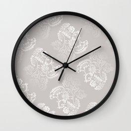 Light gray lace work pattern Wall Clock