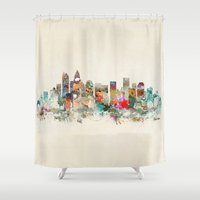north carolina Shower Curtains featuring charlotte city north carolina by bri.buckley