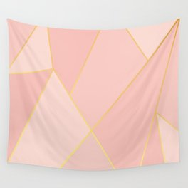 Elegant Pink Rose Gold Geometric Abstract Wall Tapestry