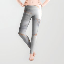 Grey Marble Rosegold  Pink Metallic Foil Style Leggings