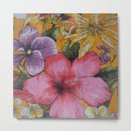 Vintage Tropical Flowers Table Cloth Metal Print