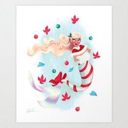 Holiday Mermaid Art Print