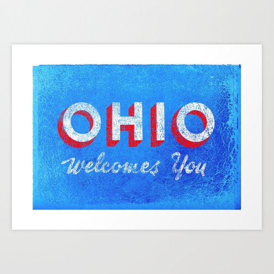 Vintage Ohio Welcome Sign Art Print