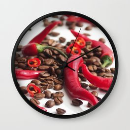 Hot red chillies in contrast to coffee beans in the abstract design Wall Clock