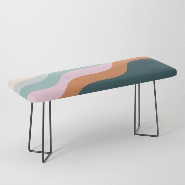 Abstract Diagonal Waves in Teal, Terracotta, and Pink Bench