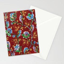 Red Folk Floral Stationery Cards