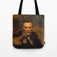 christopher walken Tote Bags featuring Christopher Walken - replaceface by replaceface