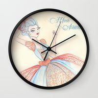 marie antoinette Wall Clocks featuring Marie Antoinette by carotoki art and love