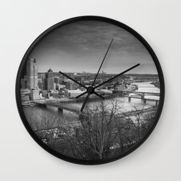 Pittsburgh City Skyline Overlook Black and White Wall Clock